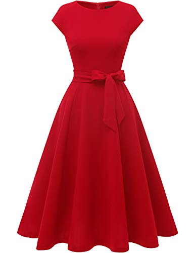 Women Casual Tea Dresses A Line Swing Vintage Cocktail Dress, Modest Church Formal Dress, Flared Bridesmaid Midi Spring Dress for Party/Graduation/Homecoming/Wedding Guest/Prom Red L