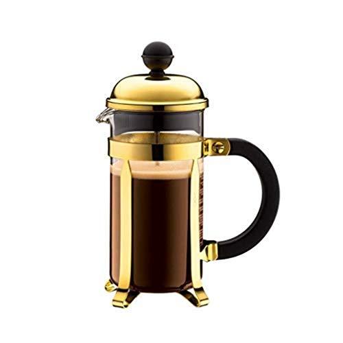 Bodum Chambord Kaffeebereiter 3 Tassen mit Metallrahmen, Chrom, Gold, 7.5 x 13.5 x 18.9 cm