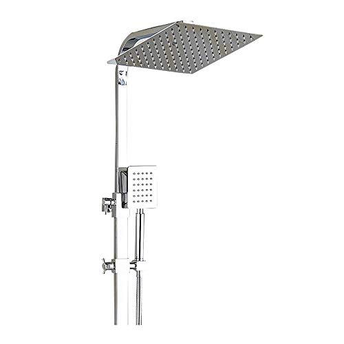 SILOLA Duschsysteme, Duschset Thermostatmischer Dusche mit Regendusche und 3-Funktions-Handbrause Quadratischer Duschmischer Duschsystem Haushaltsdusche Heimwerker
