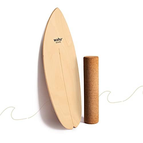 WAHU Balanceboard (Natur) - Trickboard mit einzigartigem Rocker Shape inkl. Rolle
