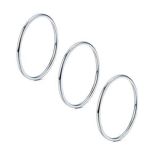 NOKMIT 3Pcs 1mm Stainless Steel Stacking Rings for Women Thin Silver Rings Knuckle Finger Statement Ring Plain Dome Comfort Fit Size 5 to 10