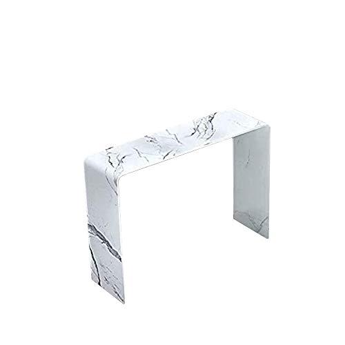 Arreditaly Consolle Tavolo Salotto Soggiorno Sala da Pranzo Rettangolare in Vetro Temperato Bianco e Curvato Design Moderno Elegante Luxury Z-01 W, 100 x 30 x 72 Cm Colore Bianco Effetto Marmo