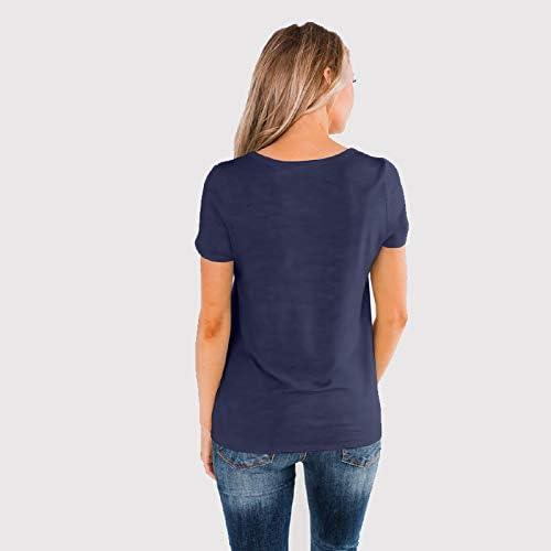 Asvivid Lot de 2 tee-shirts d/ét/é pour femme avec col rond et manches courtes