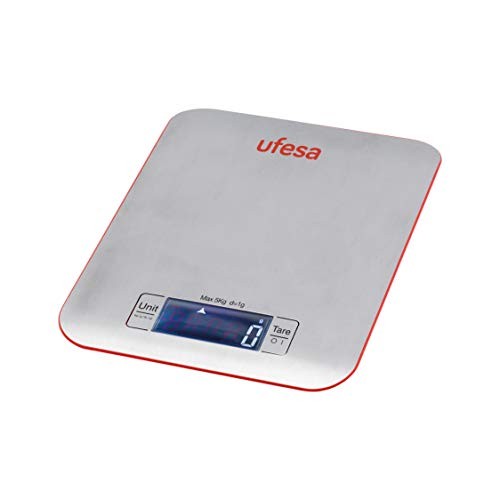 Ufesa BC1550 - Báscula de cocina digital, de 1g a 5kg, Superficie de Acero inoxidable de fácil limpieza