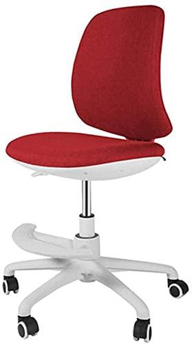 TAIDENG Silla de oficina para computadora de tela cómoda, silla de oficina, altura ajustable, con base cromada, silla giratoria, para hogar/oficina (color: rojo vino)