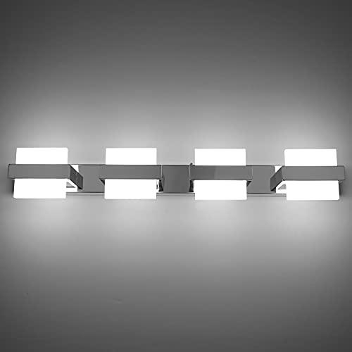 Klighten 24W Lámpara de Espejo Baño LED con 5 Luces, 68CM Aplique de Espejo Baño, Blanco Frio 6000K Luz de Espejo de Baño, Aplique de Baño IP44, Lámpara Pared Baño Cromo, Lámpara Cuarto de Baño