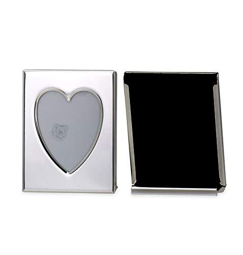 Paßbild-Fotorahmen Herz Außen-D 5,5 x 7,0cm versilbert Anlaufgeschützt