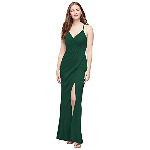 Spaghetti Strap Crepe-Back Satin Bridesmaid Dress Style F20009, Juniper, 4