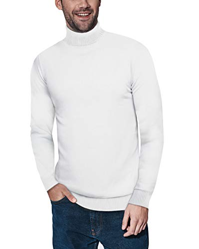 XRAY Turtleneck Sweater for Men – Slim Fit Pullover with Roll Collar Off White