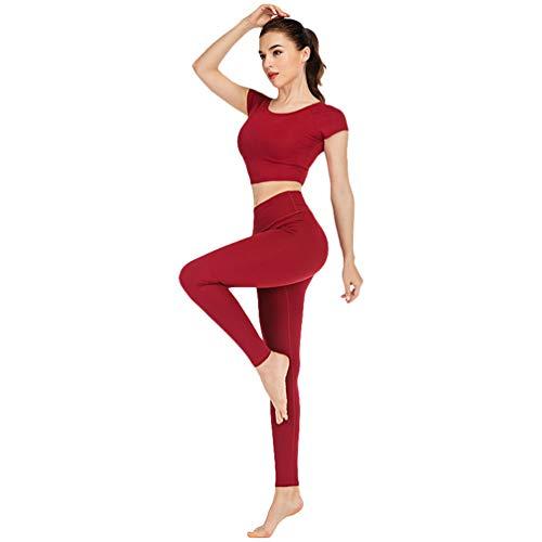 Xinwcang Yoga Conjunto De Mujer Mujeres T-Shirt Deportivo Top and Leggings Gimnasio Ropa Chándal Yoga Pastilla M