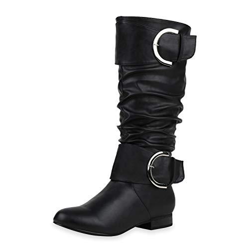 SCARPE VITA Damen Klassische Stiefel Leder-Optik Boots Blockabsatz Schuhe Schnallen Holzoptikabsatz Langschaftstiefel 187141 Schwarz Schwarz 40