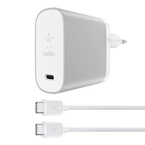 Belkin Universal-USB-C-Netzladegerät (45Watt, mit 1,8m USB-C-/USB-C-Kabel, 3A, Power Delivery, geeignet für USB-C fähige Smartphones, Tablets und Ultrabooks) silber