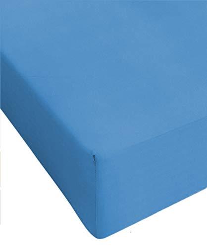 Centesimo Web Shop Lenzuolo sotto 160X190 CM Misura Speciale Vari Colori 160 190 Cotone con Angoli con Elastico Prodotto in Italia - - 160x190 cm Azzurro