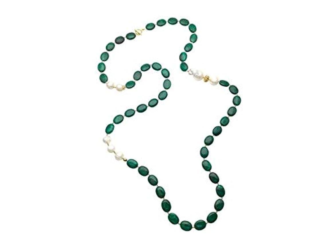 トラフィック狂信者終わった[ファーラ] パール 真鍮 ネックレス CN038 Green With White