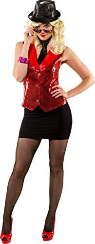 Orlob Damen Kostüm Pailletten Weste rot Karneval Fasching Gr.50/52