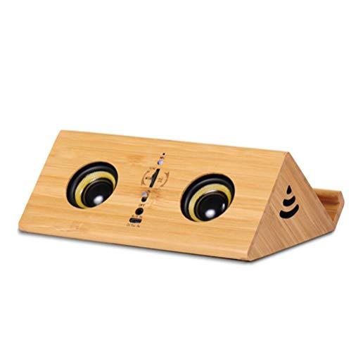 ZIHENGUO Tragbarer Induktions-Bluetooth-Lautsprecher, Massivholz Wireless Audio Mini Stereo Subwoofer Tablet Ständer Handy Stand,Lightcolor