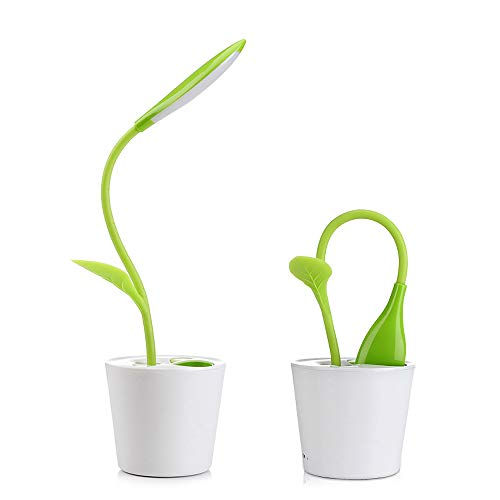 Agolaty, Unisex-Adult, Portalápices lámpara de escritorio verde, Trompeta