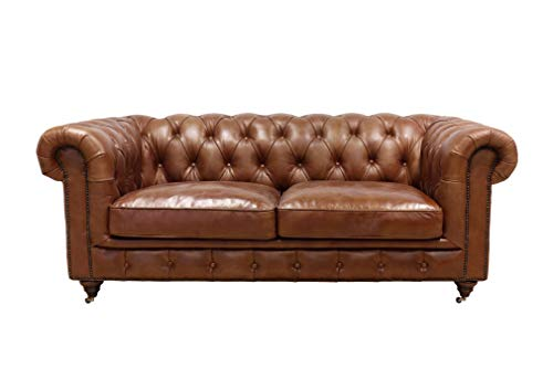 Pasargad Home Genuine Leather Chester Bay Tufted Loveseat