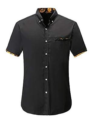 Jandukar Men's Short Sleeve Cotton Plaid Casual Slim Fit Button Down Gingham Slub Dress Shirts