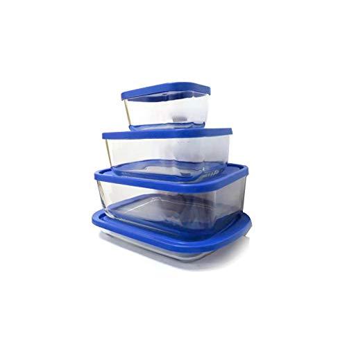 FIDON Taper cristal LOTE de 6uds rectangulares 13.5x10x6.5cm multiples tamaños Recipiente de cristal para alimentos recipiente vidrio para comida contenedores vidrio (Rectangular, 13.5cm)