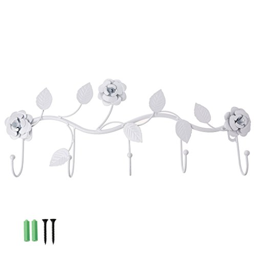 KINTRADE Vintage Rose Wall Hanging Gancio In Ferro Battuto Hat Hat Hanger Organizer Holder Wall Decoration - Bianco