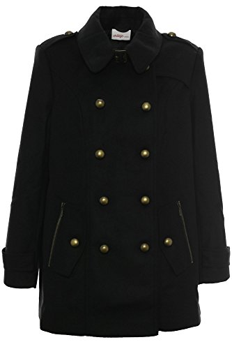 sheego Mantel Kurzmantel Dufflecoat Jacke Parka Damen Plusgröße Übergröße, Farbe:schwarz;Damengrößen:42