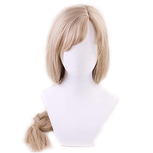 Peluca de Cosplay Hataraku Saibou Cells en el trabajo, pelucas de disfraz de fiesta de Halloween de macrfago de pelo trenzado rubio largo + gorro de peluca