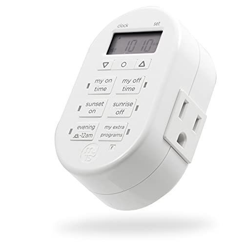 myTouchSmart Programmable Indoor Digital Timer, Plug in, 1 Outlet Grounded, 2 Custom On/Off Times, Daily/Weekly Settings, Presets, for Lamps, Seasonal Lighting, 33860, White