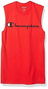 Champion Men s Classic Jersey Muscle Tee Screen Print Script Scarlet X-Large