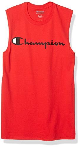 Champion Men's Classic Jersey Muscle Tee, Screen Print Script, Scarlet, Medium