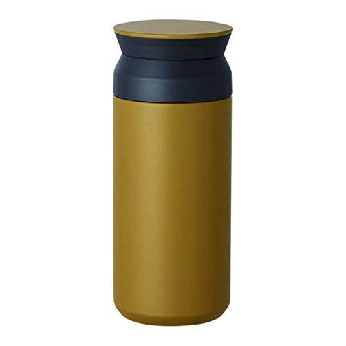 Kinto Reisebecher 350 ml/500 ml, Wasserflasche, vakuumisolierte Thermosflasche, Sportflasche, edelstahl, Coyote, 350ml