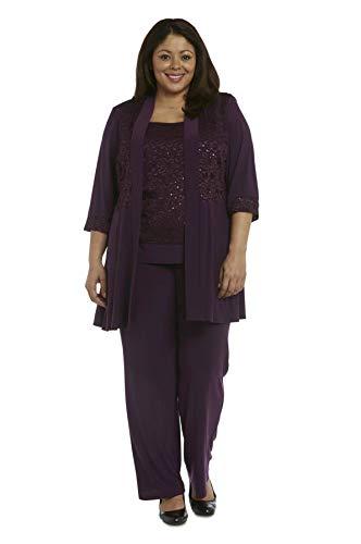 R&M Richards Plus Size Women's Lace ITY 2 Piece Pant Suit - Mother of The Bride Outfit (Plum, 14 Plus)