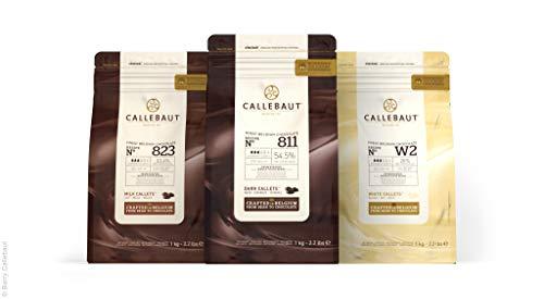 Callebaut, lait, noir et blanc pépites de chocolat (3 x 1kg Bundle)