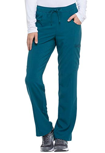 Dickies EDS Essentials Women Scrubs Pant Mid Rise Straight Leg Drawstring DK010, S, Caribbean Blue