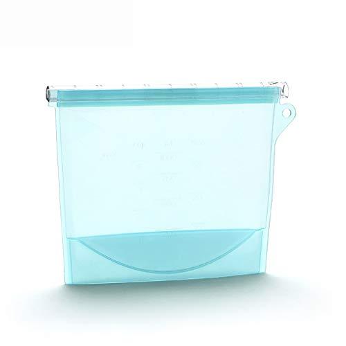 Bolsa de alimentos reutilizable de silicona a prueba de fugas multifuncional bolsa de almacenamiento de silicona Bolsa de autosellado for envasado de alimentos 1000ML / 1500ML...