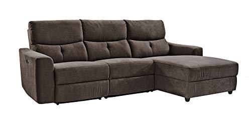 lifestyle4living Ecksofa in Braunem Mikrofaserstoff mit Relaxfunktion | Relaxsofa elektrisch verstellbar | Gemütliches L-Sofa in modernem Look