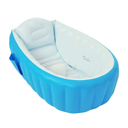Bañera Inflable para bebé, sin Bomba, para niños, bebés, bebés, bebés, recién Nacidos, Inflable, Plegable, Ducha, Piscina (Azul)