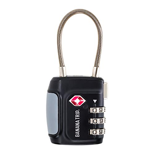 BANANA TRIP TSA Approved Cable Luggage Lock, 3 Digit Combination Padlock, Travel Lock for Suitcases & Bag, Alloy Body, Travel Accessories