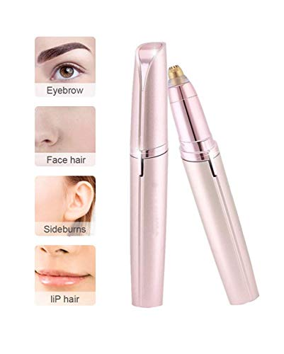 STEP DOWN Portable Eyebrow, Face, Lips, Nose Hair Removal Electric Trimmer with Light, Hair Removal Machine For Women (ROSE GOLD) (BIG)