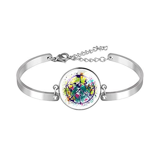 Pulsera, brazalete de acero inoxidable brazalete de regalo de joyería puño pulido estilo de caja de regalo de moda Hippie-Peace-Symboly-On-Earth Globe para hombres mujeres