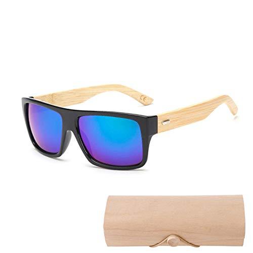 Jbwlkj Original Holz Bambus Sonnenbrille Männer Frauen Gespiegelt Uv400 Sonnenbrille Echtholz Shades Gold Blue Outdoor Brille Sonnenbrille Männlich-1523 Mit Fall C3