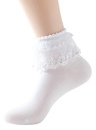 SRYL Women Lace Ruffle Frilly Ankle Socks Fashion Ladies Girl Princess H06 (White-1 pairs)