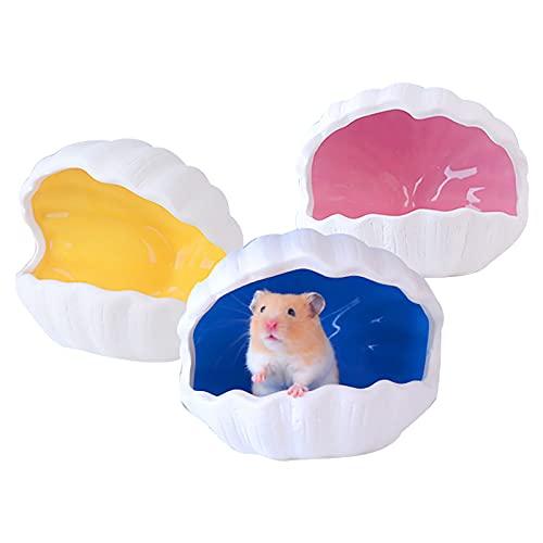 TBoxBo 3 piezas de animales pequeños casa de mascotas adorable forma de concha de cerámica nido Critter casa de baño cueva mini jaula de cabaña para chinchilla hámster ratas gerbils