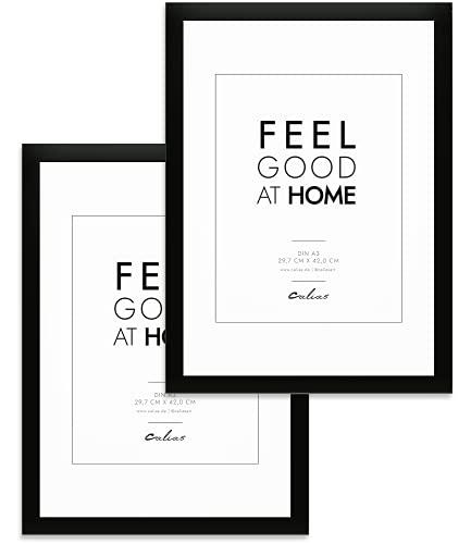 Calias® Pack doble (2 unidades) Marco de fotos DIN A5, madera, color negro, marco de fotos de 14,8 x 21 cm, con cristal de plexiglás irrompible, marco de madera