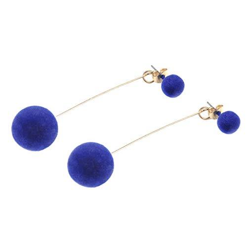 freneci Perlas de Bola de Pompones Redondos Elegantes para Mujer, Pendientes Colgantes - Azul, Individual