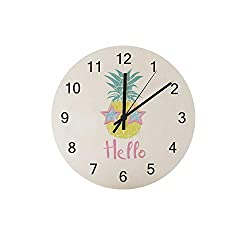 ZHONGJI Wooden Wall Clock Pineapple and Glasses Round Silent Non Ticking Battery Drive Home Decor Accessories Vintage Style Office Bedroom