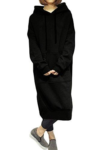 Romacci Damen Lose Lange Sweatshirt mit Kapuze Kleid Langarm Taschen Split Casual Warme Hoodies, Schwarz, XL