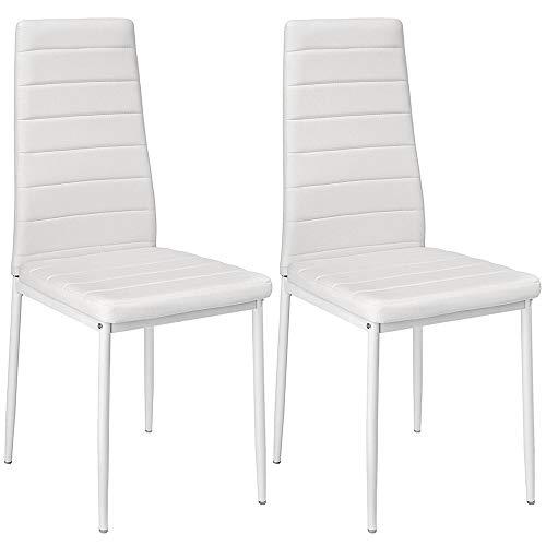 Sarah 2-er Set, Esszimmerstuhl mit Hoher Rückenlehne, Küchenstuhl Set, Wohnzimmerstuhl, Weiß