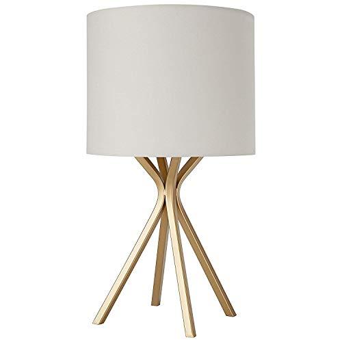 Preisvergleich Produktbild Gold Bedside Table Desk Lamp with Light Bulb - 10 x 10 x 18 Inches,  Linen Shade