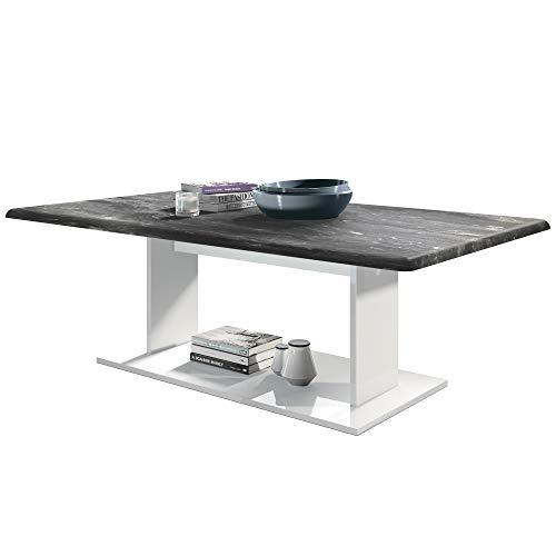 Vladon Couchtisch Beistelltisch Wohnzimmertisch Mono in Weiß mit Tischplatte in Marmor-Graphit